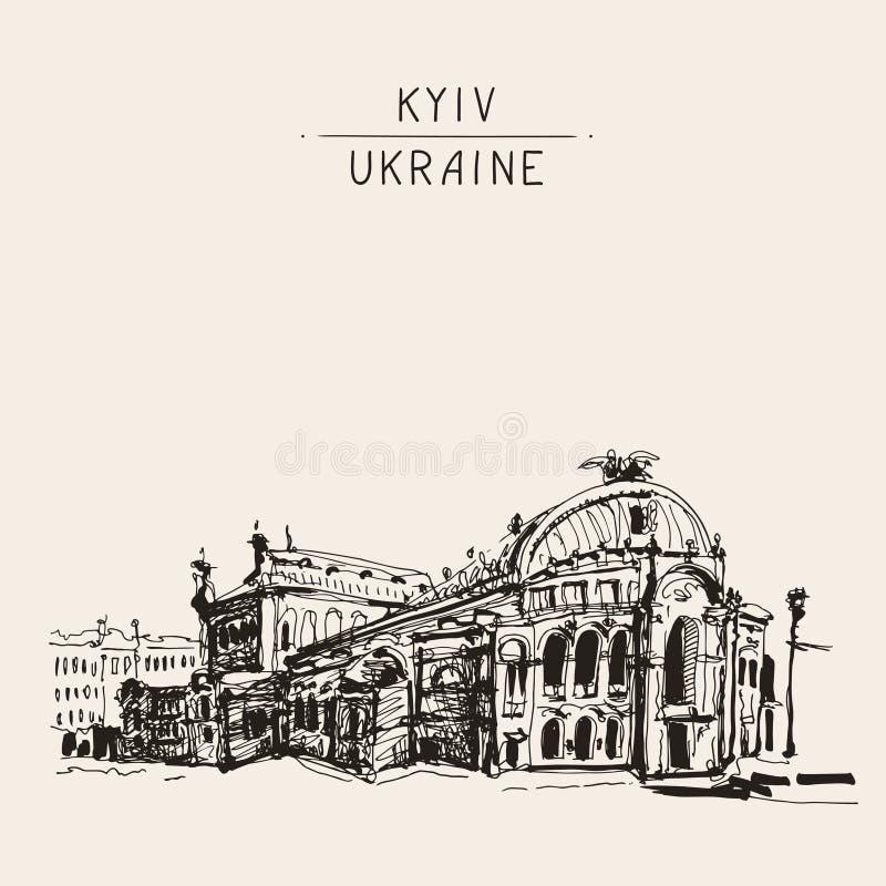 Skissa teckningen av Ukraina Kyiv den nationella opera- och balettteatern royaltyfri illustrationer
