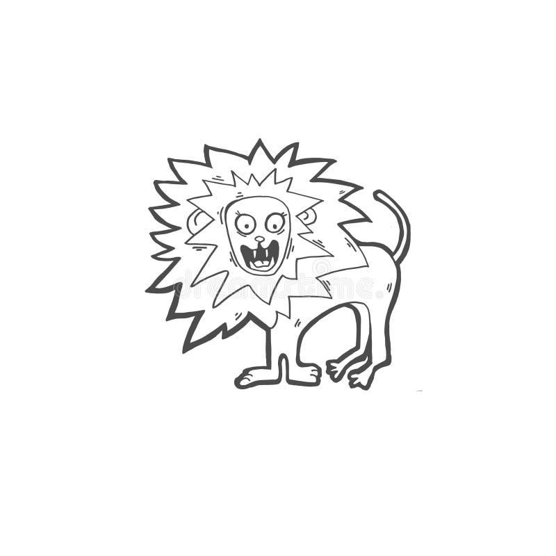 Skissa teckningsklottersymbolen av lejonskrin vektor illustrationer