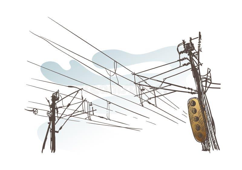 Skissa trafikljus för trådar för sikten för vektorillustrationen europeisk vektor illustrationer