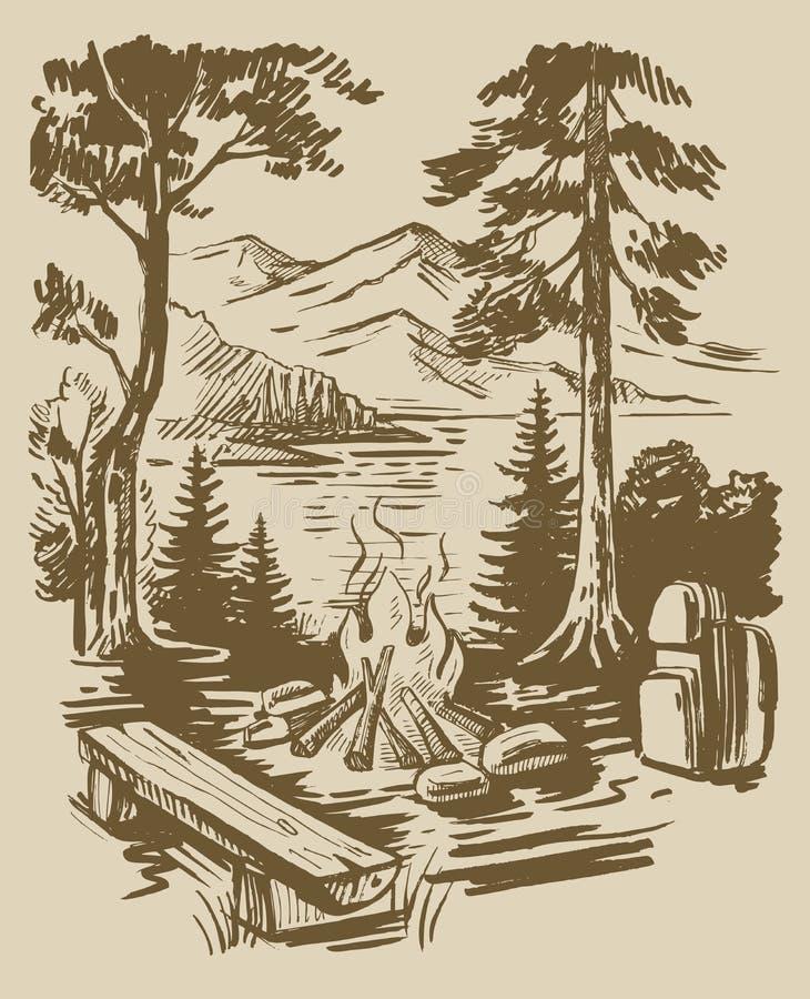 Skissa turismbakgrund royaltyfri illustrationer