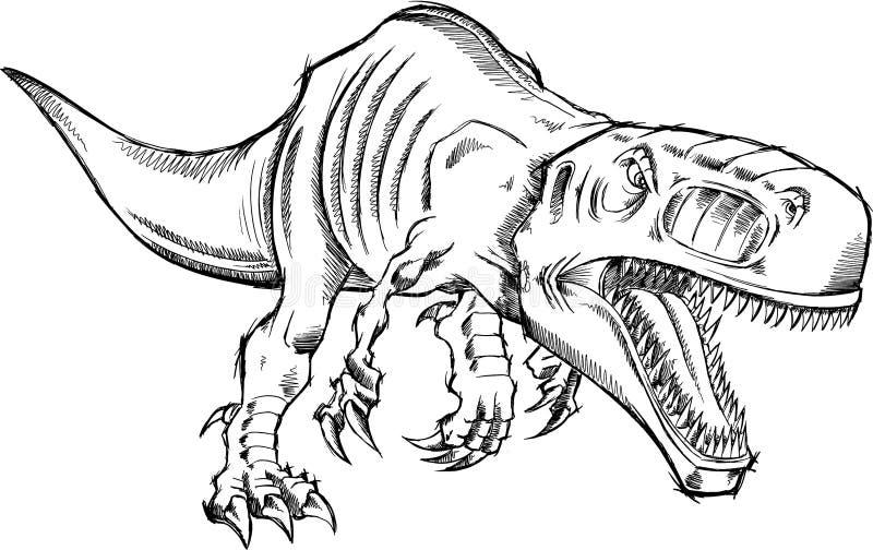 Skissa tyrannosarien Rex Dinosaur stock illustrationer