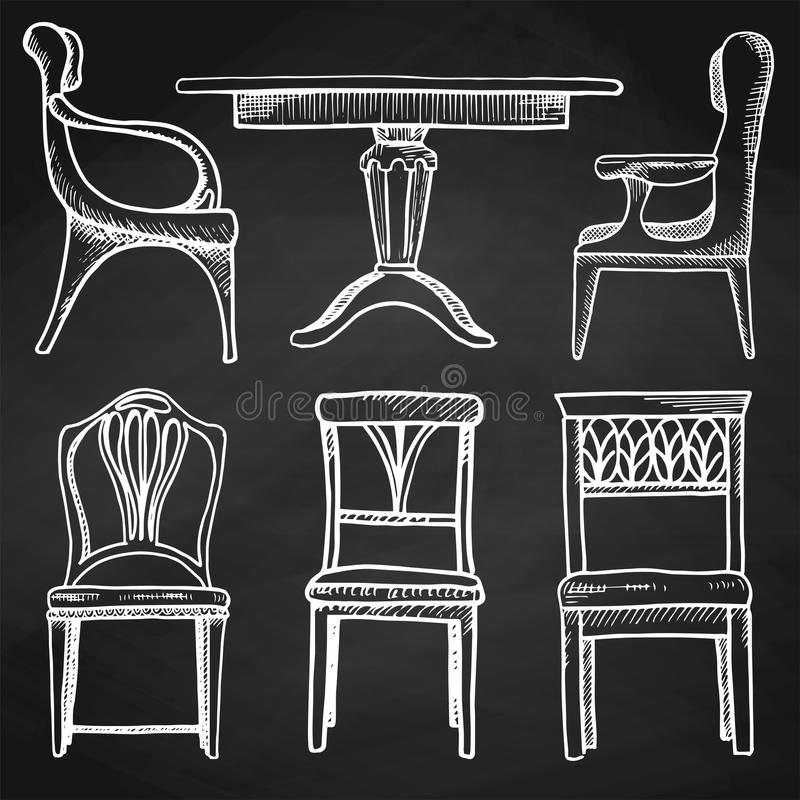 Skissa uppsättningen isolerat möblemang Olika stolar och tabeller Hand dragen krita på en svart tavla royaltyfri illustrationer