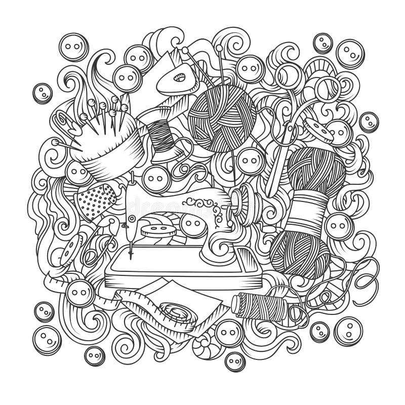 Skissa vektorhanden som dras av objekthanden - gjort tecknad filmklotter vektor illustrationer