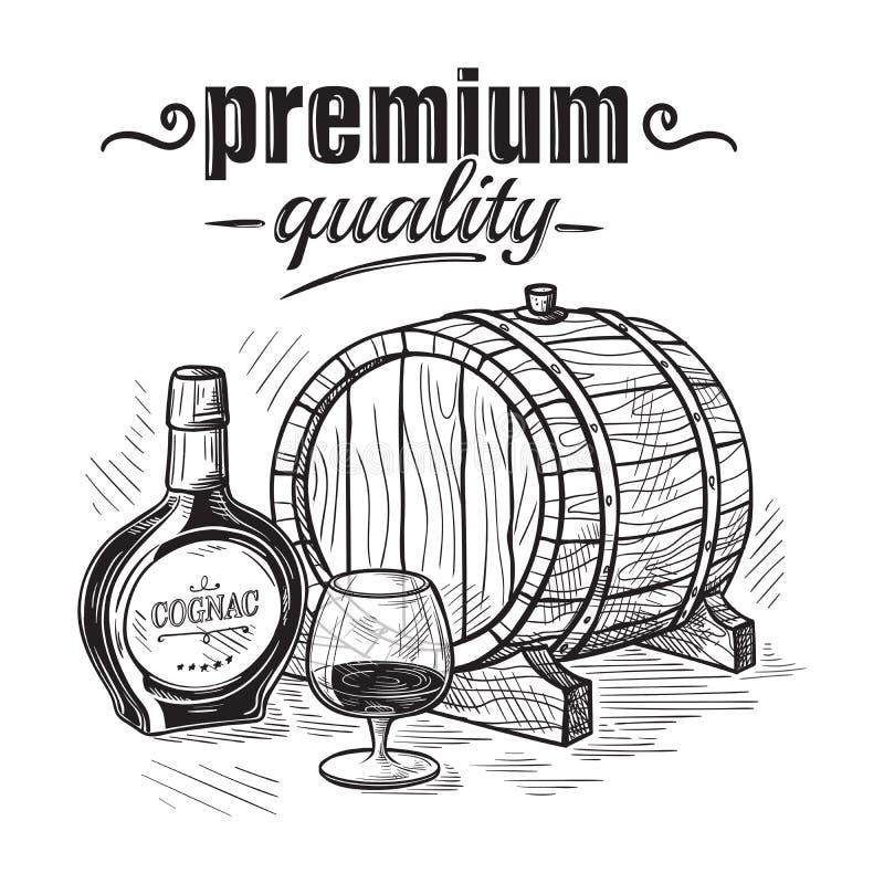Skissa whiskyflaskan och den Glass och trätrumman vektor illustrationer