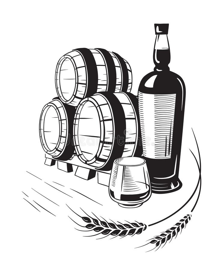 Skissa whiskyflaskan och exponeringsglas och trumman royaltyfri illustrationer