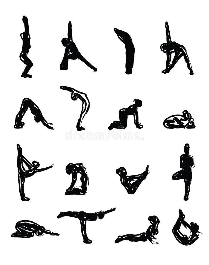 Skissa yogakonturer i Asanas royaltyfri illustrationer