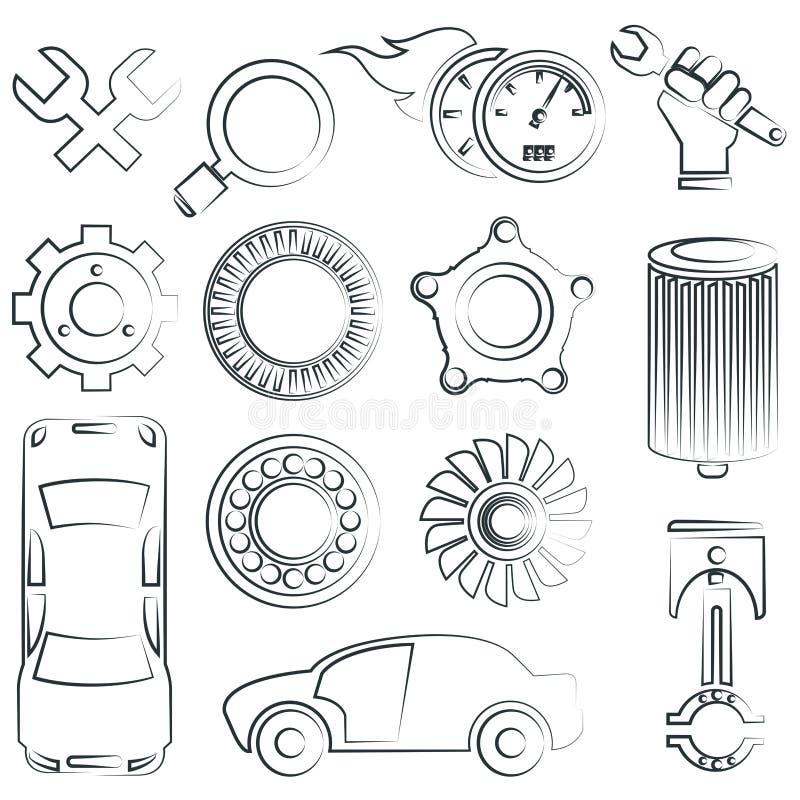 Skissad bildeluppsättning stock illustrationer