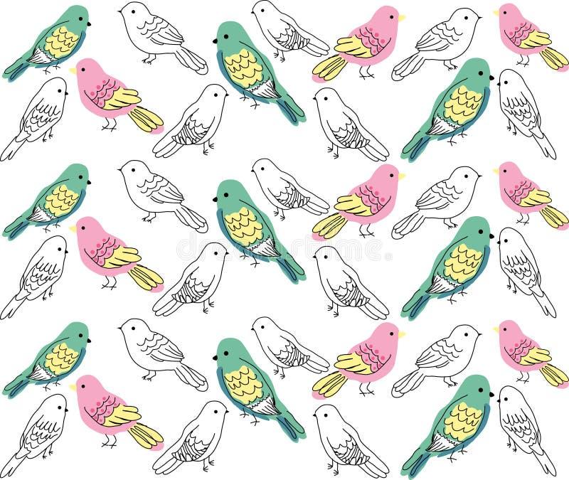 Skissad liten abstrakt fågel vektor illustrationer