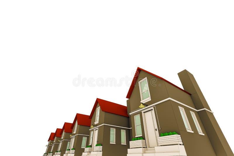 Skissade hus stock illustrationer