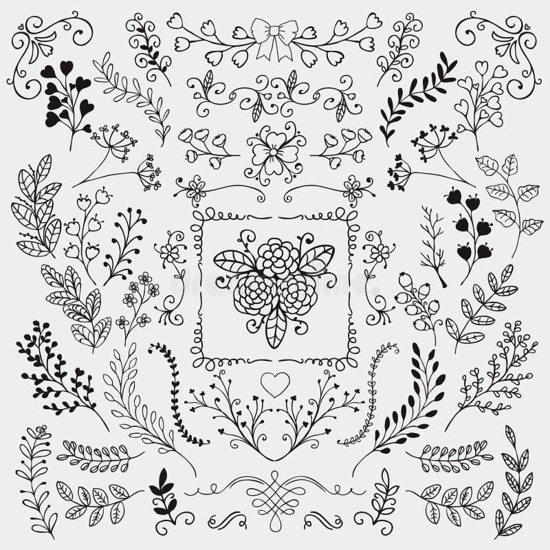 Skissade lantliga blom- klotterfilialer för vektor hand vektor illustrationer