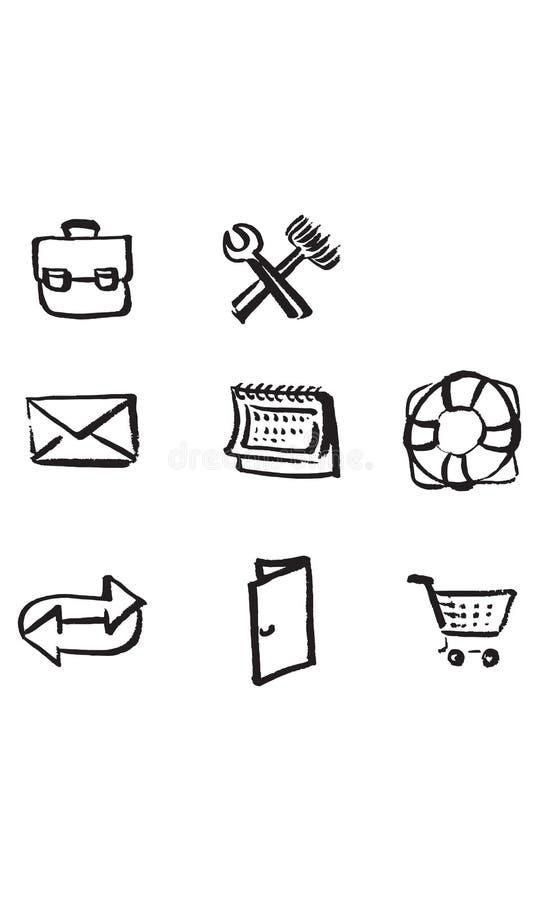 Skissade utdragna symboler för handen för websiten, affär i färgpulver på vitbok - utdragen vektorillustration för hand stock illustrationer