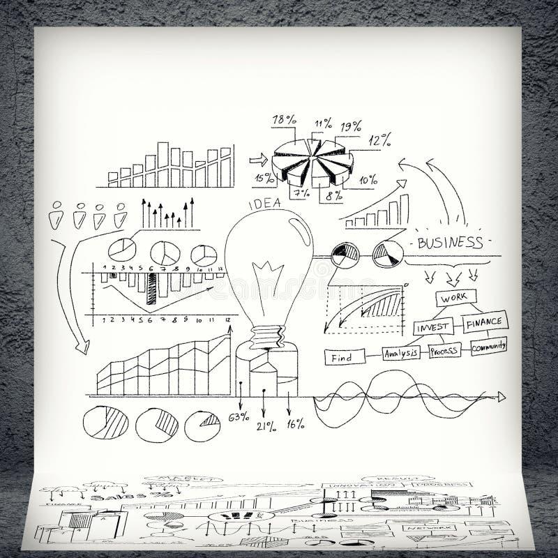 Skissar av affärsdiagram och grafer arkivfoton