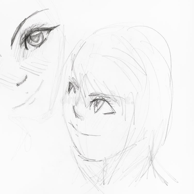 Skissar av flickans framsidor i animestil stock illustrationer