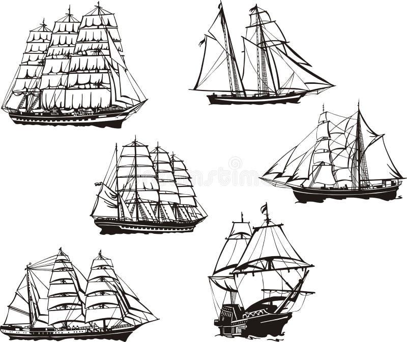 Skissar av seglingskepp royaltyfri illustrationer