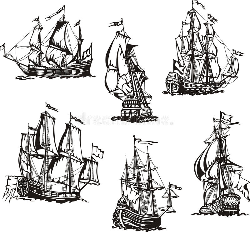Skissar av seglingskepp vektor illustrationer