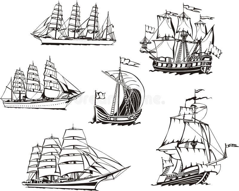 Skissar av seglingskyttlar stock illustrationer