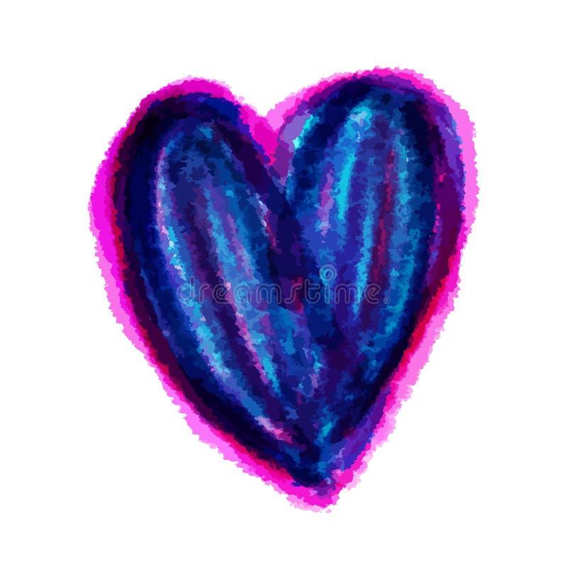 Skissar den blå hjärta målade vattenfärgvektorillustrationen, isolerad utdragen hjärta för handen, för för valentindag vektor illustrationer