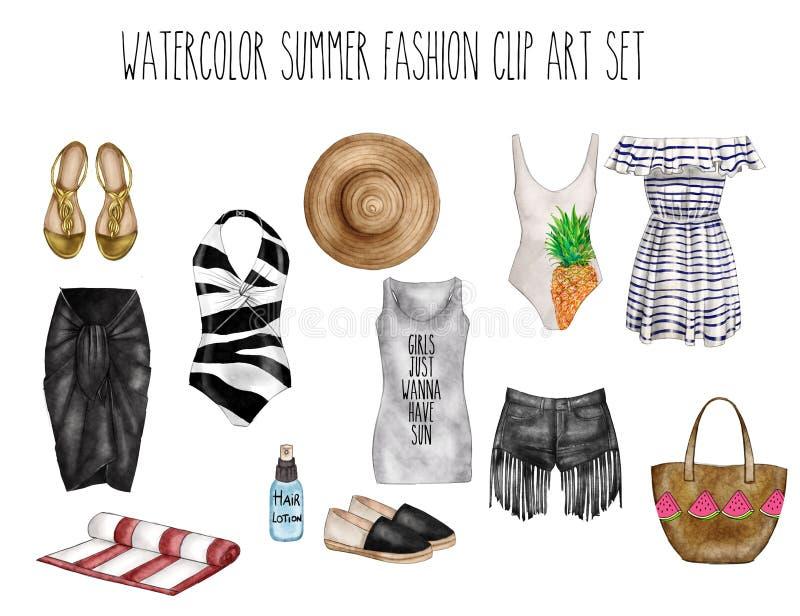Skissar den digitala illustrationen för vattenfärgen - uppsättning för konst för vattenfärgmodegem - garderobväsentlighet - kvinn royaltyfri illustrationer