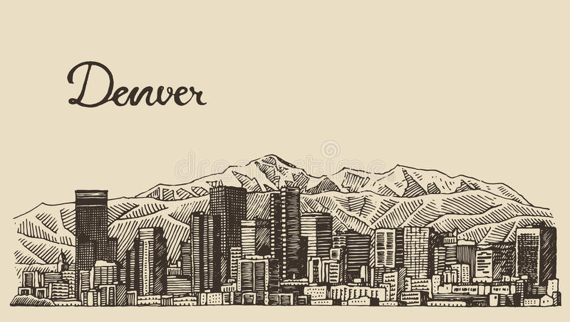 Skissar den drog Denver horisont inristade vektorhanden stock illustrationer