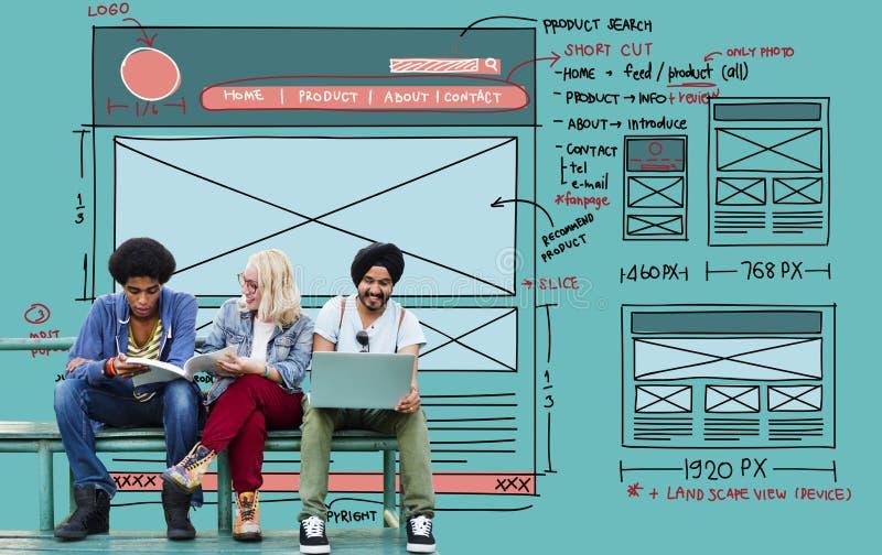 Skissar den grafiska ramformen för designen begrepp arkivfoton