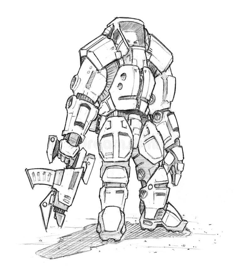 Skissar den grova blyertspennan för svart Grunge av den framtida science fictionsoldaten In Exoskeleton Suit stock illustrationer