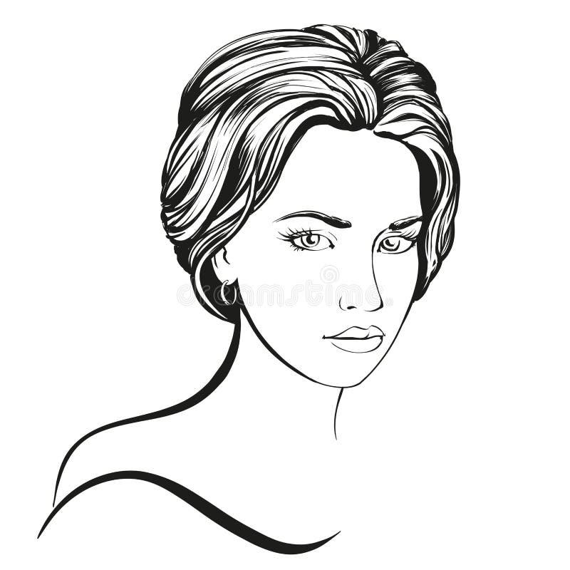 Skissar den härliga illustrationen för vektorn för kvinnaframsidan handen drog royaltyfri illustrationer