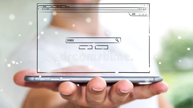 Skissar den hållande websitesidan för affärsmannen över mobiltelefonen stock illustrationer