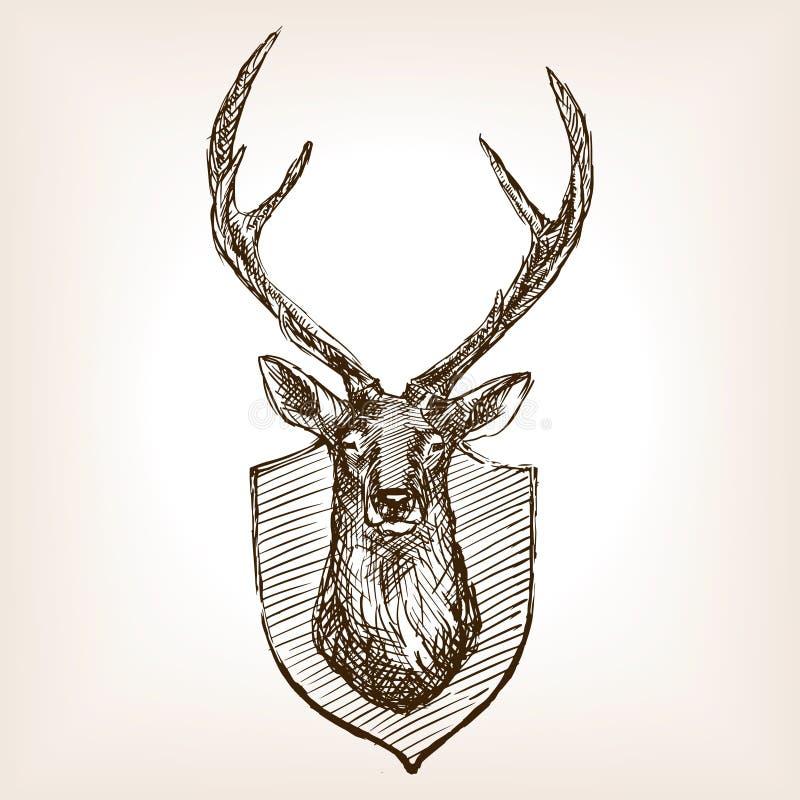 Skissar den head trofén för hjortar vektorillustrationen royaltyfri illustrationer