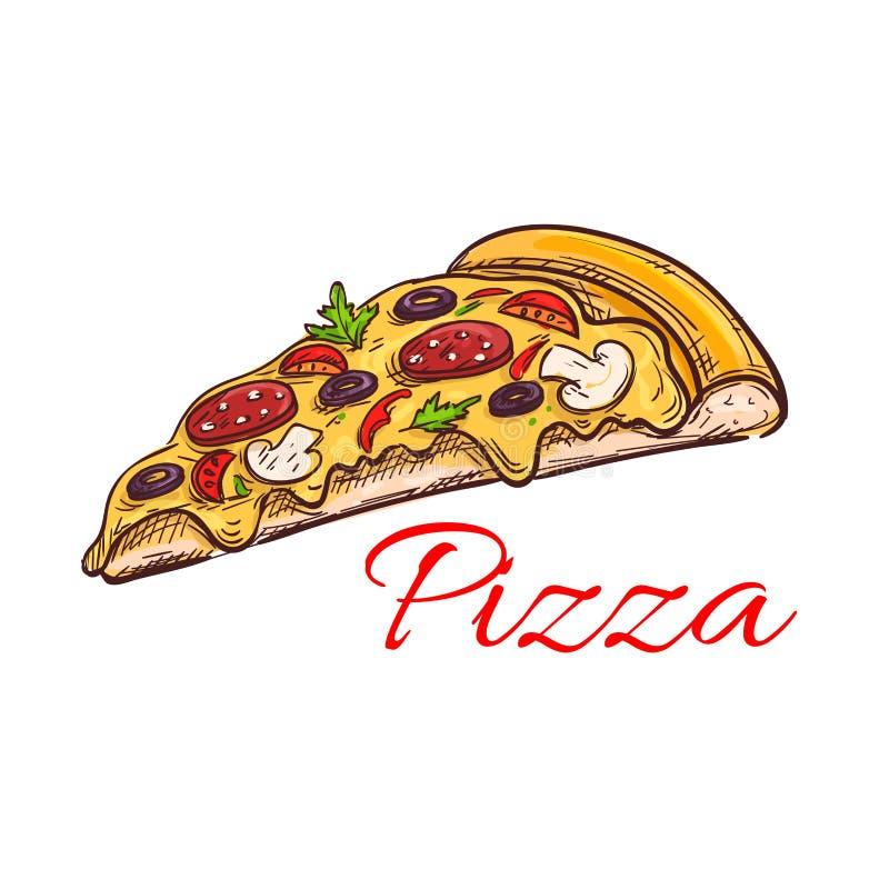 Skissar den isolerade tunna skivan för peperonipizza royaltyfri illustrationer