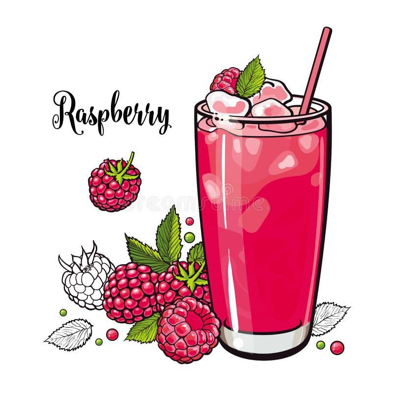 Skissar den kalla drinken för hallonsommar med nya mogna frukter och is i exponeringsglas in stil stock illustrationer