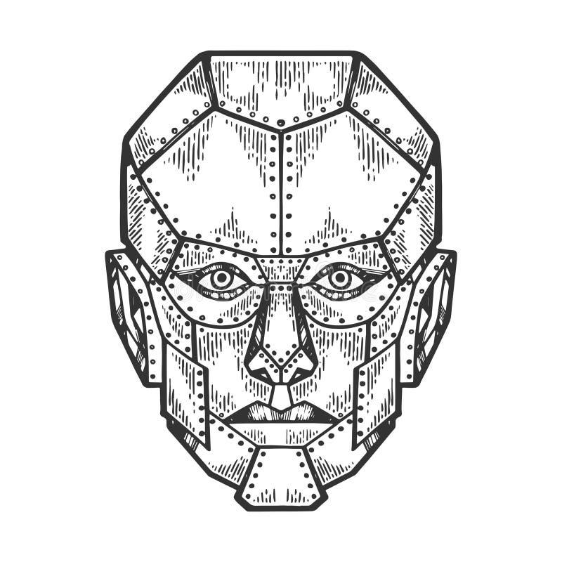 Skissar den mänskliga järnframsidan för cyborgen gravyrvektorn royaltyfri illustrationer