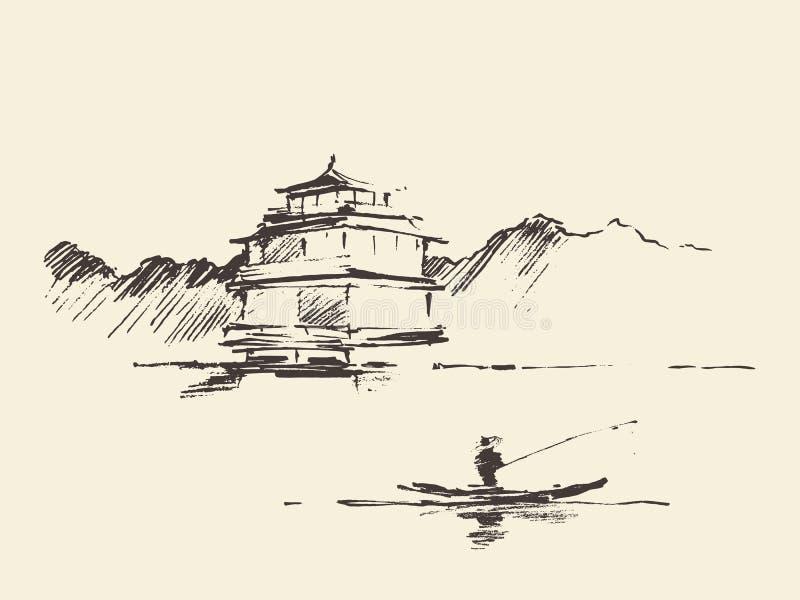 Skissar den orientaliska drog vektorn för landskappagoden sjön royaltyfri illustrationer