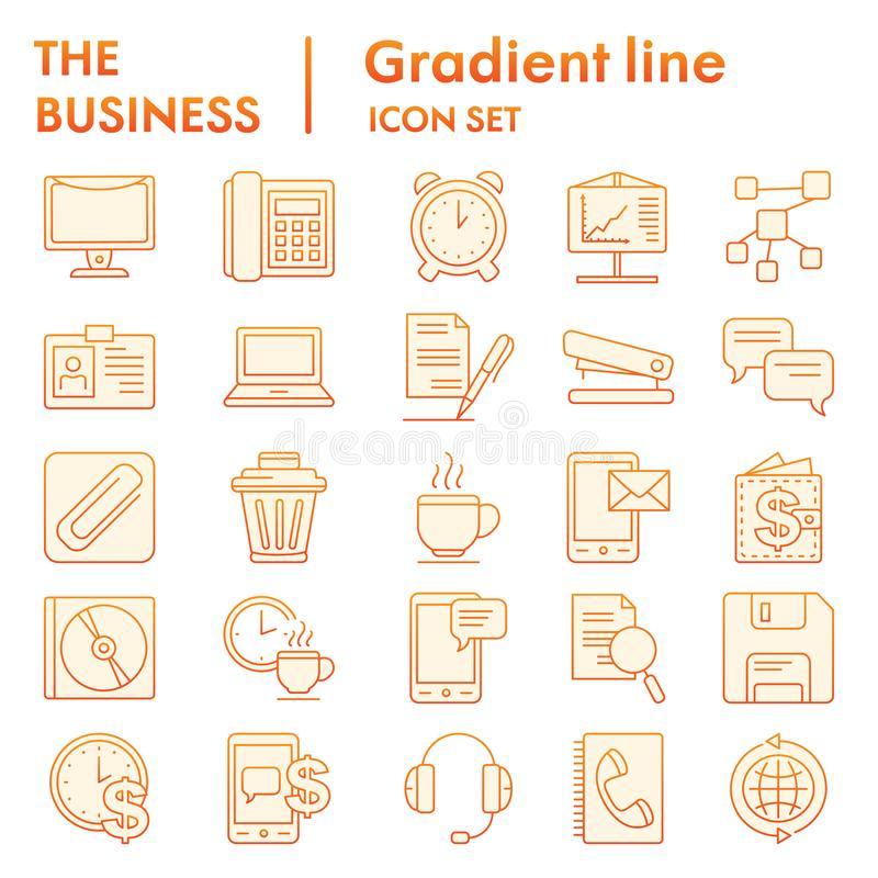 Skissar den plana symbolsuppsättningen för affären som marknadsför symboler samling, vektorn, logoillustrationer, orange lutn stock illustrationer