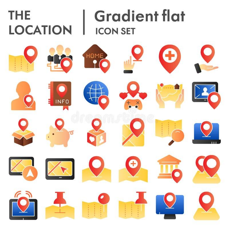 Skissar den plana symbolsuppsättningen för läge, navigeringsymboler samlingen, vektor, logoillustrationer, färg för riktningsteck stock illustrationer