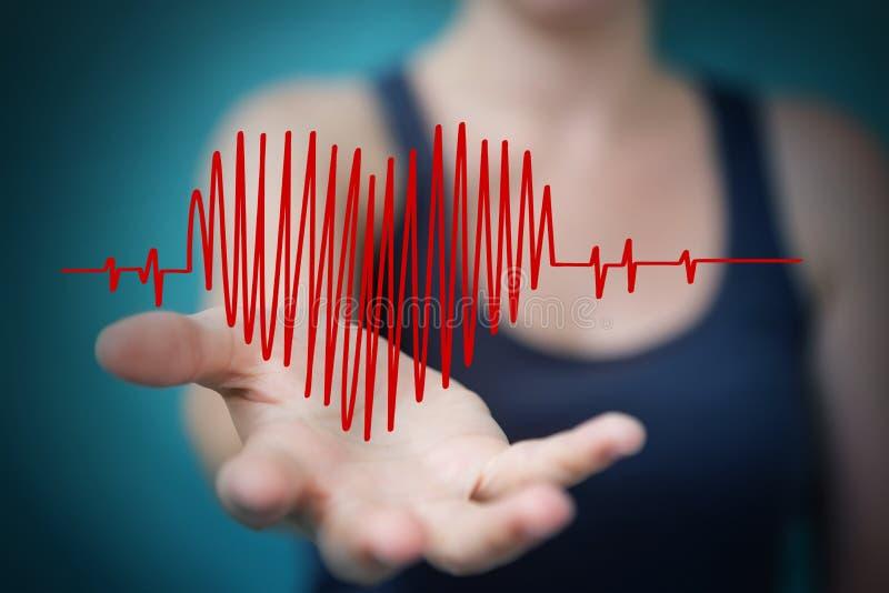Skissar den rörande och hållande hjärtatakten för affärskvinnan royaltyfri illustrationer