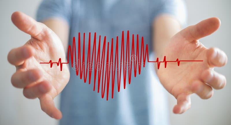 Skissar den rörande och hållande hjärtatakten för affärsmannen royaltyfri illustrationer