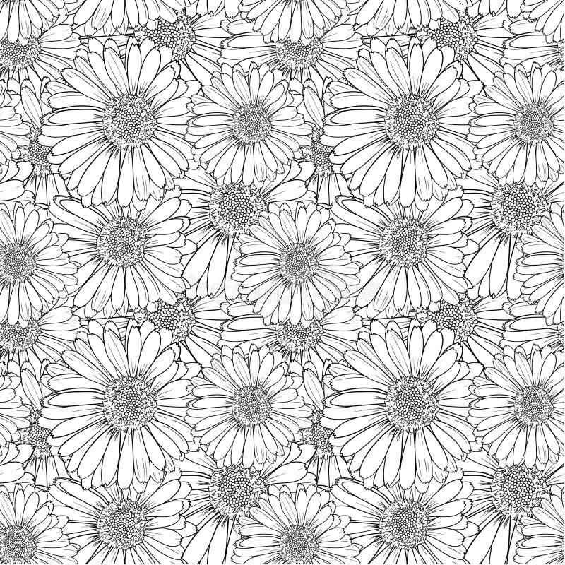 Skissar den sömlösa blom- modellen för vektorn, översiktsblommor som är svartvita illustrationen, ändlös bakgrund royaltyfri illustrationer