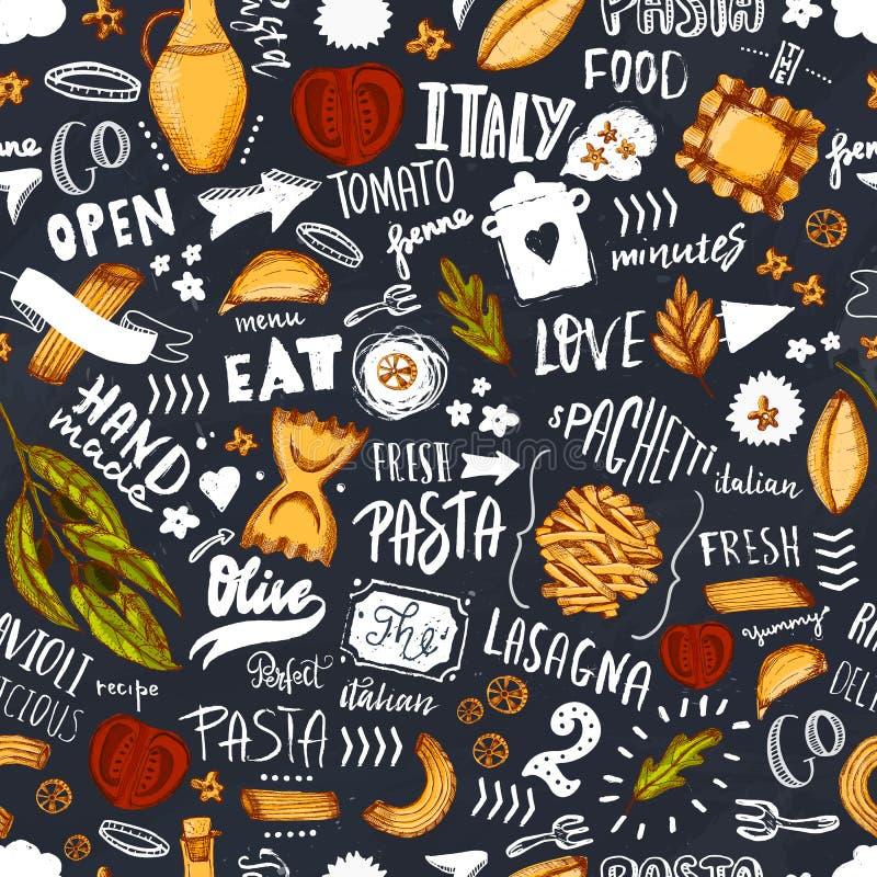 Skissar den sömlösa modellen för italiensk pasta med spagetti, olivolja och handen dragen bokstäver Mall för modern meny stock illustrationer