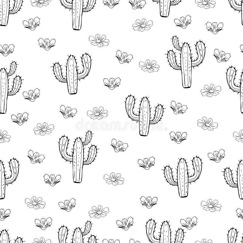 Skissar den sömlösa modellen för kaktuns, den linjära handteckningen för översikten, kontur, den svartvita vektorillustrationen stock illustrationer