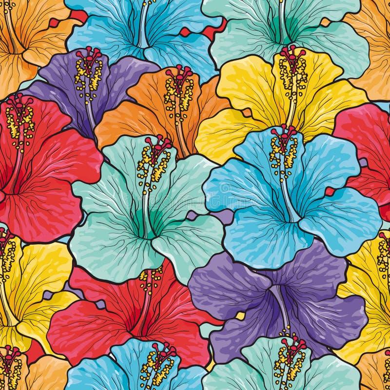Skissar den sömlösa modellen för tropiska blommor med den flerfärgade hibiskusen vektor illustrationer