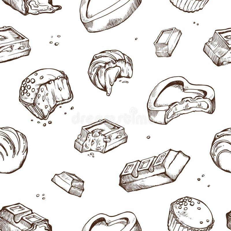 Skissar den sömlösa modellen för vektorn av bet choklader Söta rullar, stänger, glasade, kakaobönor Isolerade objekt på a stock illustrationer