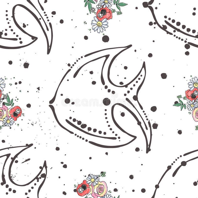 Skissar den sömlösa modellen för vektorn, för illustrationbakgrund för handen det utdragna grafiska djuret för havet, fisk med bl royaltyfri illustrationer
