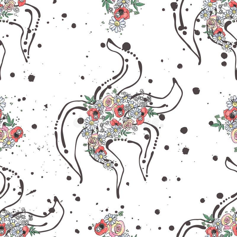 Skissar den sömlösa modellen för vektorn, för illustrationbakgrund för handen utdragen grafisk fisk för stjärna för djur för have royaltyfri illustrationer