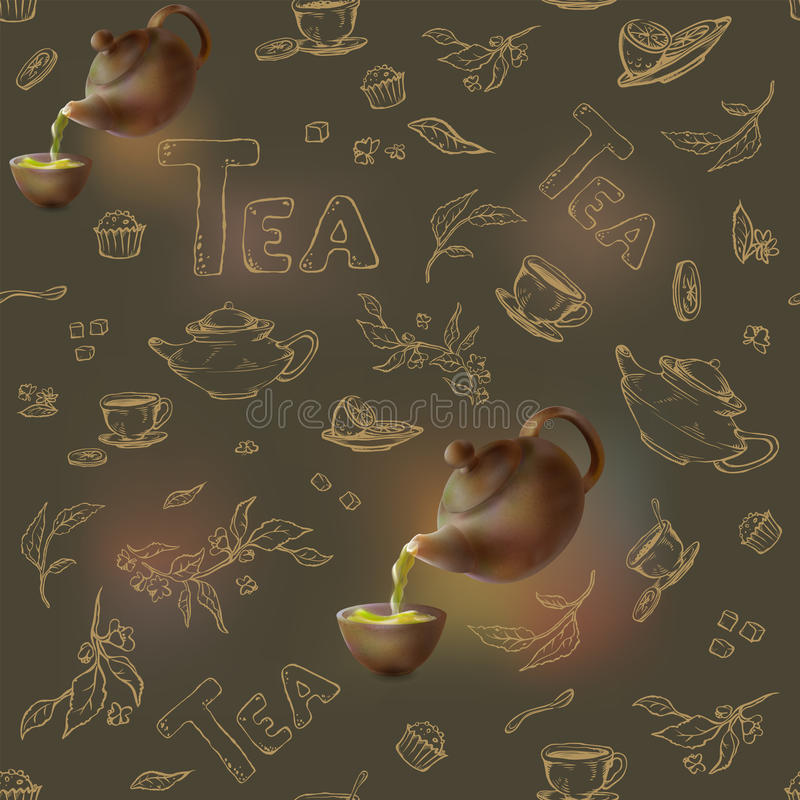 Skissar den sömlösa modellen för vektorn på en mörk bakgrundsguld av objekt för tebjudningen tekanna 3d och kopp, godis, citron royaltyfri illustrationer