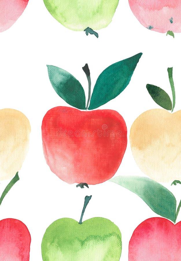 Skissar den sömlösa modellvattenfärgen för fyra ljusa äpplen royaltyfri illustrationer
