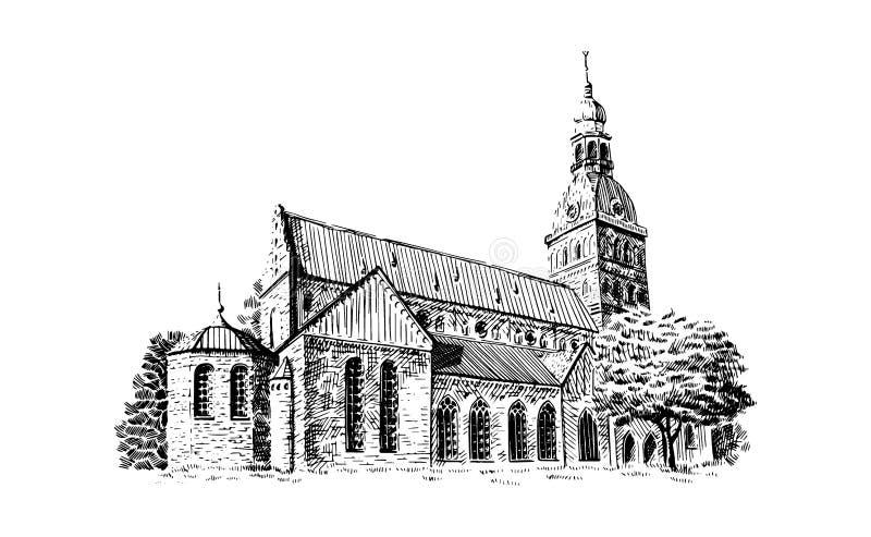 Skissar den svartvita teckningen för den Riga kupoldomkyrkan också vektor för coreldrawillustration royaltyfri illustrationer