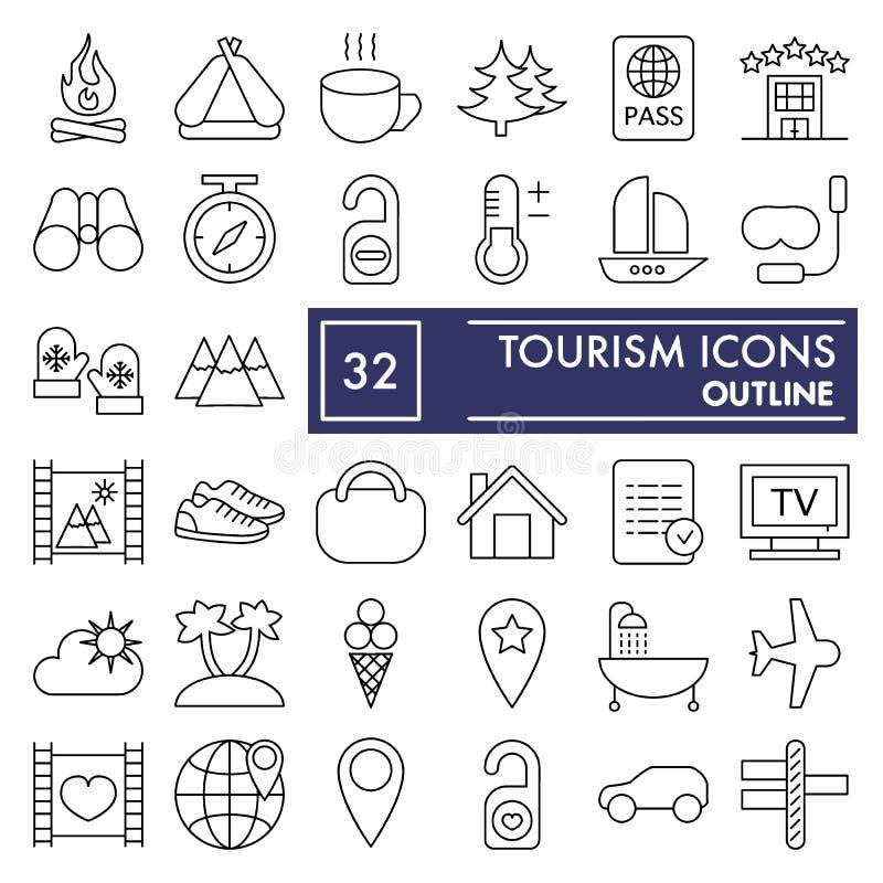 Skissar den tunna linjen symbolsuppsättningen, loppsymboler samlingen, vektor för turism, logoillustrationer, linjärt semestertec royaltyfri illustrationer