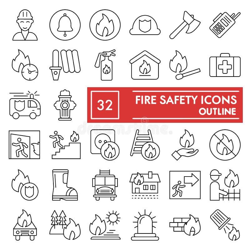 Skissar den tunna linjen symbolsuppsättningen, nöd- symboler samlingen, vektor för brandsäkerhet, logoillustrationer, linjärt ang stock illustrationer