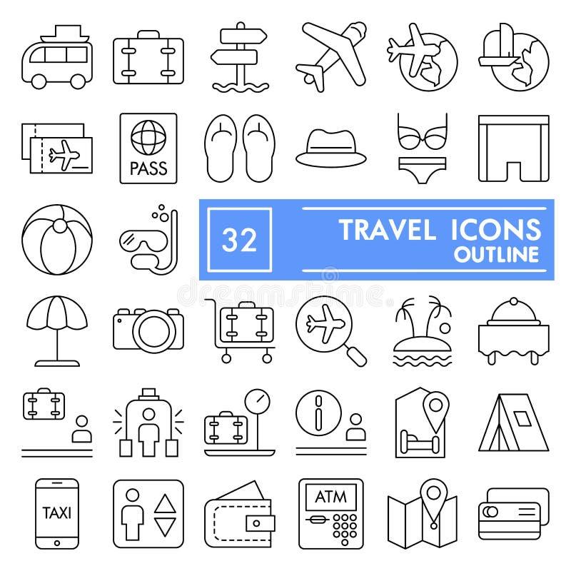 Skissar den tunna linjen symbolsuppsättningen, semestersymboler samlingen, vektor för loppet, logoillustrationer, linjärt turismt royaltyfri illustrationer