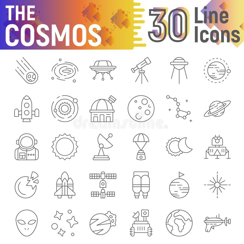 Skissar den tunna linjen symbolsuppsättningen, utrymmesymboler samlingen, vektor för kosmos, logoillustrationer, astronomitecken stock illustrationer